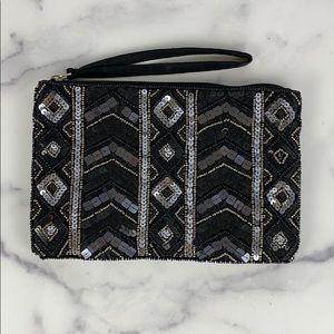 CLUTCH black & silver sequin wristlet